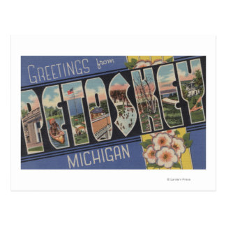 Petoskey, Michigan - Large Letter Scenes Postcard