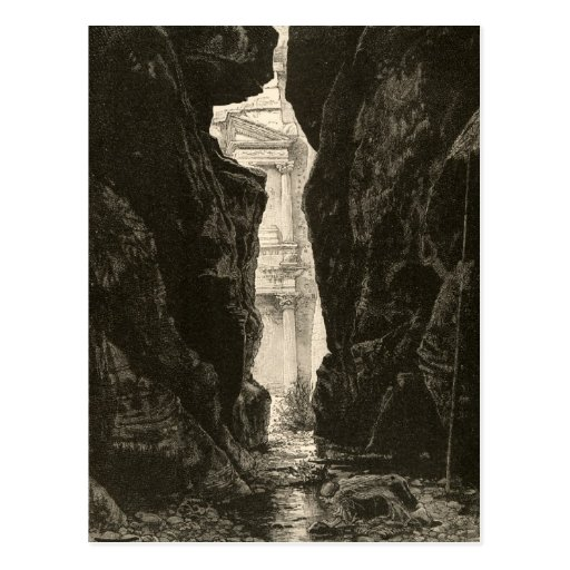 Petra Jordan UNESCO Heritage Site Engraving Postcard