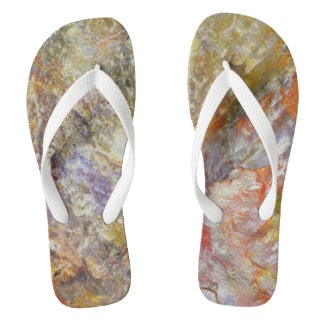 Petrified wood flip flops