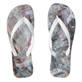 Petrified wood flip flops