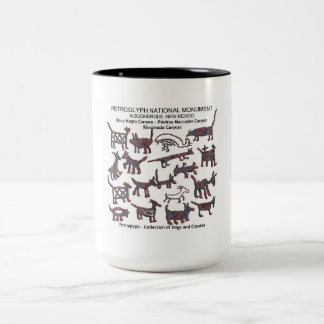 Petroglyph collection Dogs and Coyotes Two-Tone Coffee Mug