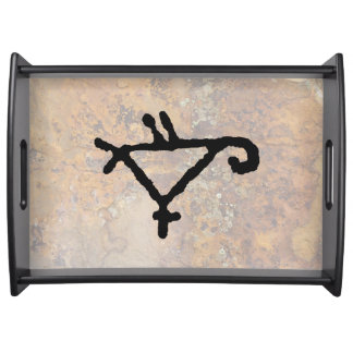 Petroglyph Geometric Image of a Parrot Serving Tray