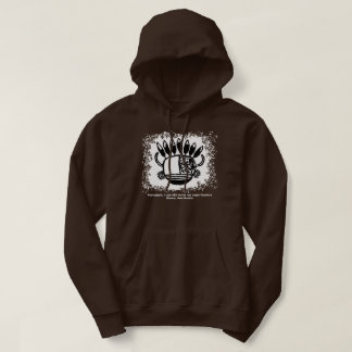 Petroglyph, mask with horns and eagle feathers hoodie