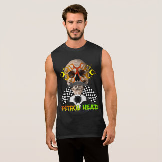 Petrol Head Cool Skull Motor Sports Theme Graphic Sleeveless Shirt