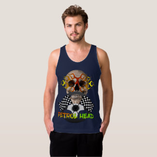 Petrol Head Cool Skull Motor Sports Theme Graphic Tank Top