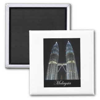Petronas Towers at Night Square Magnet