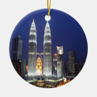 Petronas Towers illuminated at night Kuala Lumpur Ceramic Ornament