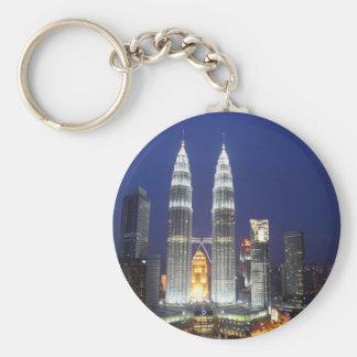 Petronas Towers illuminated at night Kuala Lumpur Keychain