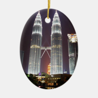 Petronas Towers in Kuala Lumpur at night Ceramic Ornament