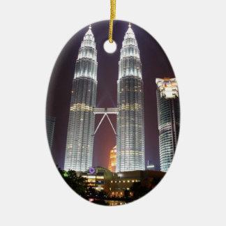 Petronas Towers in Kuala Lumpur at night Ceramic Ornament