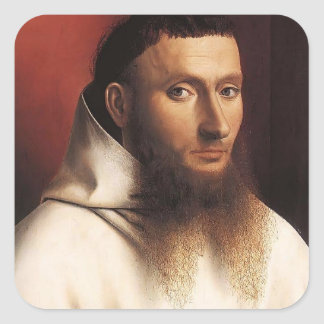 Petrus Christus- Potrait of a Carthusian Square Stickers