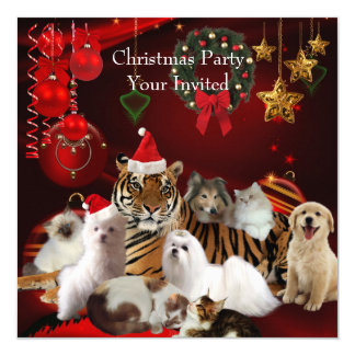 Pets Christmas Party Xmas Tiger Cats Dogs Card