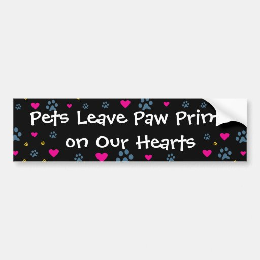 Pets Leave Paw Prints on Our Hearts Bumper Sticker