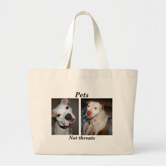 Pets, Not threats tote bag