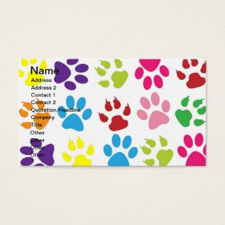 Pets paw print pattern business card