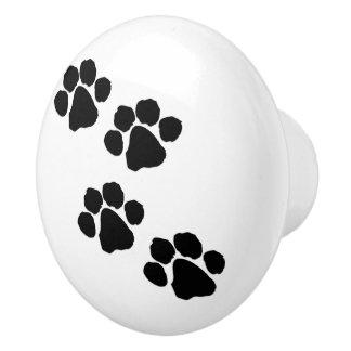 Pets Paw Prints Ceramic Knob