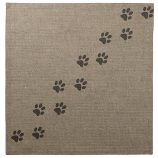 Pets Pawprints on Burlap Effect Design Napkin