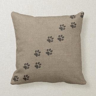 Pets Pawprints on Burlap Effect Design Throw Pillow
