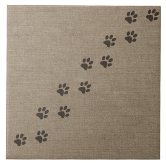 Pets Pawprints on Burlap Effect Design Tile