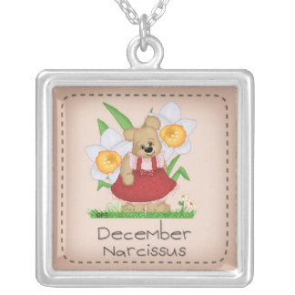 Pettibone Bear December Birth Flower Series Silver Plated Necklace