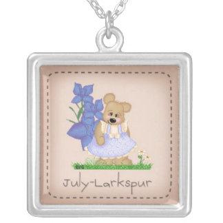 Pettibone Bear July Larkspur Birthflower Silver Plated Necklace