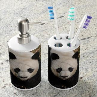 Petulant Panda Bear Soap Dispenser And Toothbrush Holder