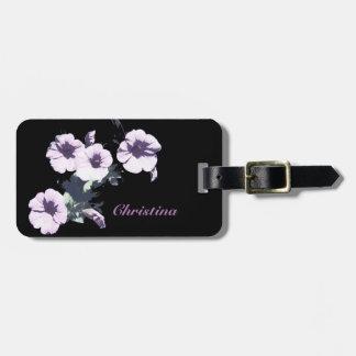 Petunia on Black Luggage Tag