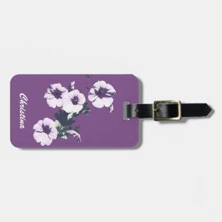 Petunia on Purple Luggage Tag