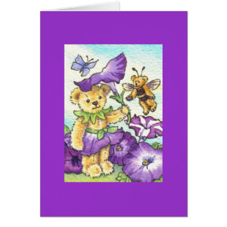 Petunia Teddy Blank Note Card