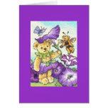 Petunia Teddy Blank Note Greeting Card