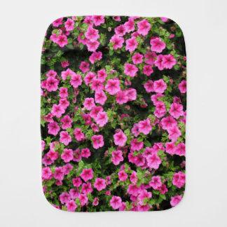 Petunias and lawn burp cloth
