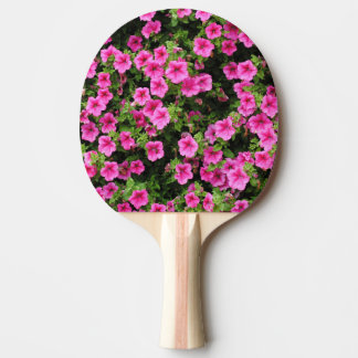 Petunias and lawn ping pong paddle
