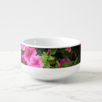 Petunias and lawn soup mug