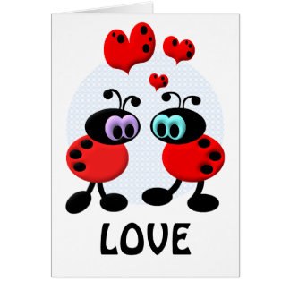 Peu d insectes d amour carte de vœux