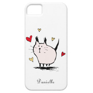 Peu de cas rose de l'iPhone 5 de chat d'amour Coque iPhone 5 Case-Mate