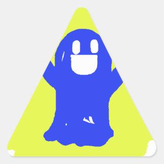 Peu de fantôme bleu sticker en triangle