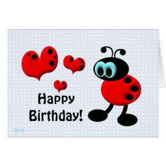 Peu d'insecte d'amour d'anniversaire carte de vœux