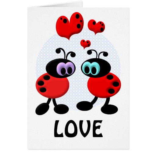 Peu d'insectes d'amour carte de vœux