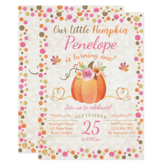 Peu d'invitation d'anniversaire de citrouille, carton d'invitation  12,7 cm x 17,78 cm