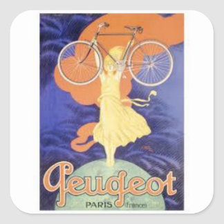 Peugeot Vintage Square Sticker