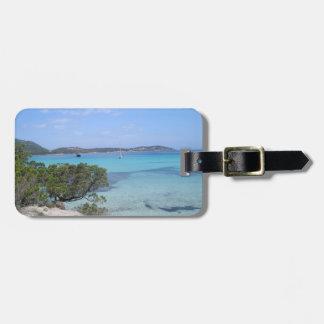 pevero beach sardinia Luggage Tag w/ leather strap