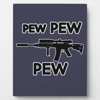 Pew pew gun plaque