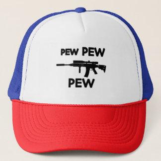 Pew pew gun trucker hat