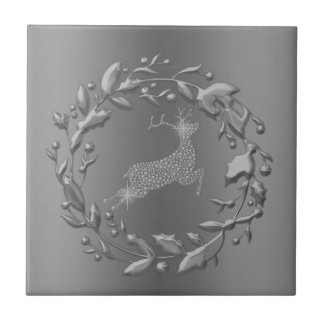 Pewter Christmas Wreath and Reindeer Tile