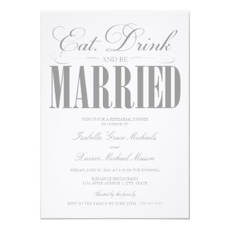 Pewter Eat, Drink & Be Married | Rehearsal Dinner Card