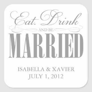 Pewter Eat, Drink & Be Married | Stickers