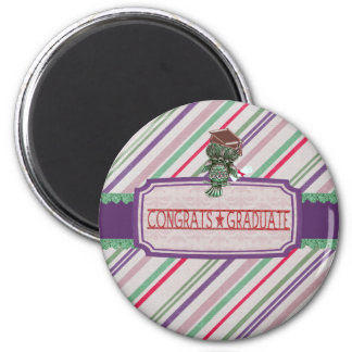 Pewter Look Owl Perched on Tags, Congrats Graduate 2 Inch Round Magnet