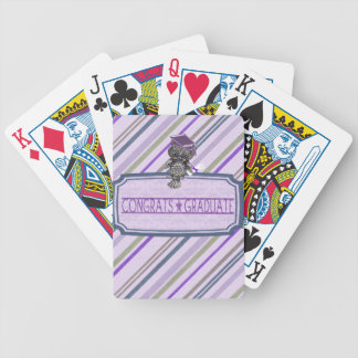 Pewter Look Owl Perched on Tags, Congrats Graduate Bicycle Playing Cards