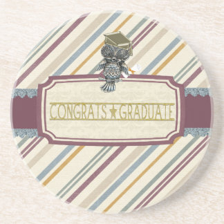 Pewter Look Owl Perched on Tags, Congrats Graduate Coaster