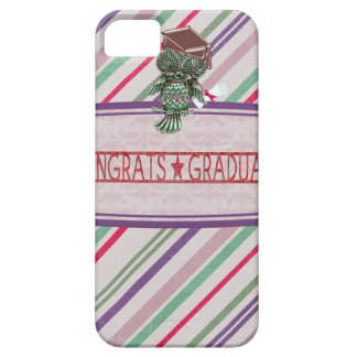 Pewter Look Owl Perched on Tags, Congrats Graduate iPhone 5 Case